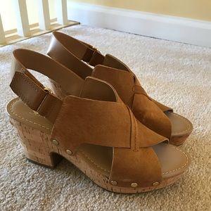 Franco Sarto tan faux suede platform sandal